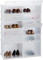 relaxdays schoenenrek kunststof XXL - 12 vakken - schoenenkast - DIY vakkenkast - groot wit