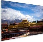 De gekleurde daken van de Jokhang-tempel op een zonnige dag Plexiglas 90x60 cm - Foto print op Glas (Plexiglas wanddecoratie)