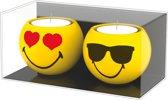 Zak!Designs Smiley 2.0 Theelichthouder - Keramiek - � 6 cm - Set van 2 Stuks - Love/Sunglasses - Geel