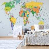 Fotobehang Political World Map Atlas | VEXXL - 312cm x 219cm | 130gr/m2 Vlies