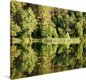 Reflectie van de bossen in het Echo meer in het Nationaal Park Roztocze Canvas 180x120 cm - Foto print op Canvas schilderij (Wanddecoratie woonkamer / slaapkamer) XXL / Groot formaat!