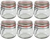 6x Weckpot/inmaakpot 500 ml met rode rubberen ring, klepdeksel en beugelsluiting - Weckpotten - Inmaakpotten - Voorraadbussen