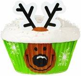 Setje vanc cupcakes vormpjes van Wilton™ rendier - Feestdecoratievoorwerp