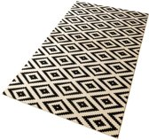 Moderne loper ruiten Diamond - crème/zwart 80x200 cm