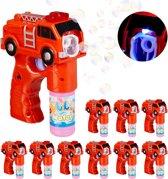 relaxdays 10 x bellenblaas pistool brandweer - bellenblaaspistool - LED - bellenblaassop