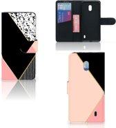 Bookcase Nokia 2.2 Zwart Roze Vormen
