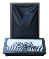 L-line by Jis Laptray, Schoottafel, Schootkussen, Laptoptafel, Dienblad met kussen Twee Zebra's - 32,5x43 cm