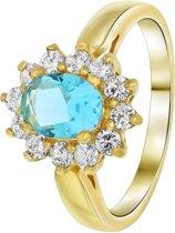 Lucardi - Nouveau Vintage - Goldplated ring aquamarine met zirkonia