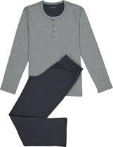Schiesser Heren Pyjama - Antraciet - R Hals met knooplijst - Maat S
