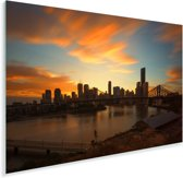 Brisbane tijdens een kleurrijke zonsondergang Plexiglas 180x120 cm - Foto print op Glas (Plexiglas wanddecoratie) XXL / Groot formaat!