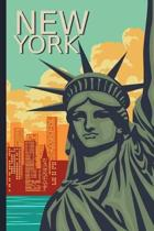 New York: Travel Journal, Notebook, Diary - Vintage Postcard Style - 110 Ruled Recycled Pages