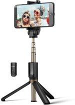 Aluminium Selfie Stick met Bluetooth voor iPhone, Samsung 60CM! Zwart