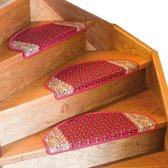 ComfortTrends Trap tapijt  Rood 3 stuks  - Gemakkelijk te bevestigen op elke egale trap