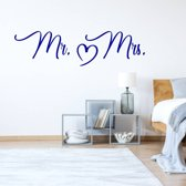 Muursticker Mr & Mrs Hart -  Donkerblauw -  80 x 21 cm  - Muursticker4Sale