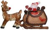 Kerstverlichting figuren voor buiten - Verlichte kerstman met slee LED 90 lampjes - 47 cm - Koel wit