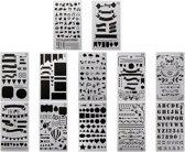Mijn bullet Journal Stencils - Sjablonen voor handlettering - Grafische stencils -12 stuks optie