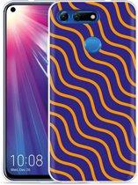 Huawei Honor View 20 Hoesje blauw oranje lijnen