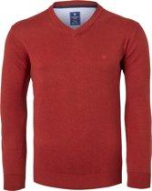 Redmond heren trui katoen - V-hals - rood-bruin -  Maat XL