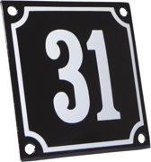 Emaille huisnummer zwart/wit nr. 31 10x10cm