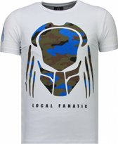 Local Fanatic Predator - Rhinestone T-shirt - Wit - Maten: XXL