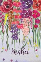 Kisha: Personalized Lined Journal - Colorful Floral Waterfall (Customized Name Gifts)