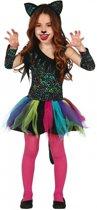 Luxe gekleurd luipaard carnaval / halloween jurkje voor meisjes 140-152 (10-12 jaar)