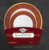 Deluxedisposables -Luxe wegwerp eenmalig plastic tafel Serviesset voor 16 Personen-Bordeaux/Goud- 32 stuks- Majestic Collection