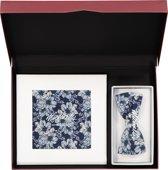 Cadeauset Michaelis strikje met pochet - blauw gebloemd in cadeaudoos