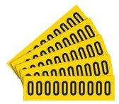Sticker cijfers geel/zwart teksthoogte: 25 mm