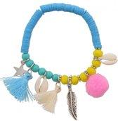 Armband met Ster, Kwastjes, Schelpen en Veertjes - Kralenarmband - Blauw - Musthaves