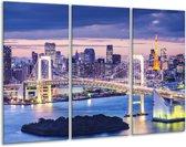 Glasschilderij Brug | Blauw, Grijs | 120x80cm 3Luik | Foto print op Glas |  F006039