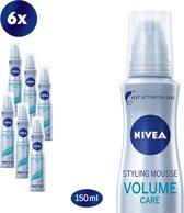 NIVEA Volume Care Styling Haarmousse - 6 x 150 ml - Voordeelverpakking