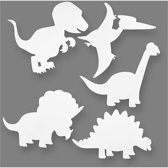Dinosaurussen, h: 15-22 cm, b: 24-25 cm, wit, 16stuks, 230 gr