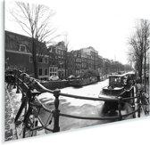 De bevroren Prinsengracht in de winter Plexiglas 180x120 cm - Foto print op Glas (Plexiglas wanddecoratie) XXL / Groot formaat!