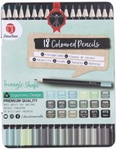 18 Premium kleurpotloden in blik - Decotime - Soft point - Da Vinci - Zwart - Grijs - Groen Tinten