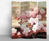 Orientique Kamerscherm 4 Panelen Roze Bloemen met Duif Canvas Room Divider Scheidingswand