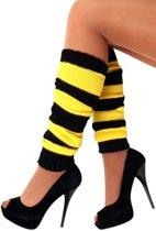 5x Paar Beenwarmers zwart/geel