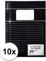 10 stuks school schriften zwart A4 lijntjes