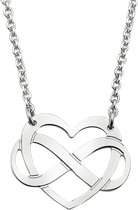 The Fashion Jewelry Collection Ketting Hart En Infinity 2,0 mm 40 + 4 cm - Zilver Gerhodineerd