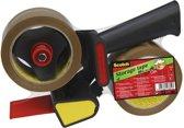 3x Scotch afroller H180 met 2 rollen verpakkingsplakband, 50mmx66 m, PP, bruin