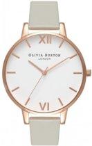 Olivia Burton Big Dial OB15BDW02 - Leer - Grijs - 38mm