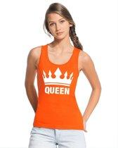 Oranje Koningsdag Queen tanktop shirt/ singlet dames - Oranje Koningsdag kleding S