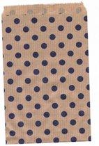 Papieren zakjes 15x22 cm bruin met paarse stippen 50 stuks