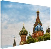 Koepels Basiliuskathedraal Moskou Canvas 60x40 cm - Foto print op Canvas schilderij (Wanddecoratie woonkamer / slaapkamer) / Steden Canvas Schilderijen