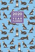 Ferret Planner 2020. Cute Ferret Pattern: Daily, Weekly & Monthly Calendar Diary