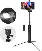 3 in 1 Selfie Stick met Afstandsbediening Verlichting en Foldable Tripod Stand - Draadloos Smartphone Statief en Driepoot