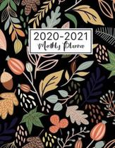 2020-2021 Monthly Planner: Watercolor Flower Black Cover - 2 Year Monthly Calendar 2020-2021 Monthly - 24 Months Agenda Planner with Holiday - Th