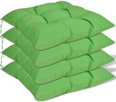 Stoelkussens 40x40x8 cm groen 4 st (incl. Pluizenroller)