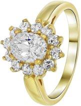 Lucardi - Nouveau Vintage - Goldplated ring white met zirkonia