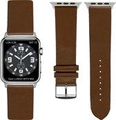 Bruine Lederen Apple horlogeband (38mm) zilveren adapter